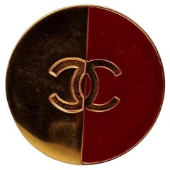 Vintage CHANEL Logo Red Gold Brooch