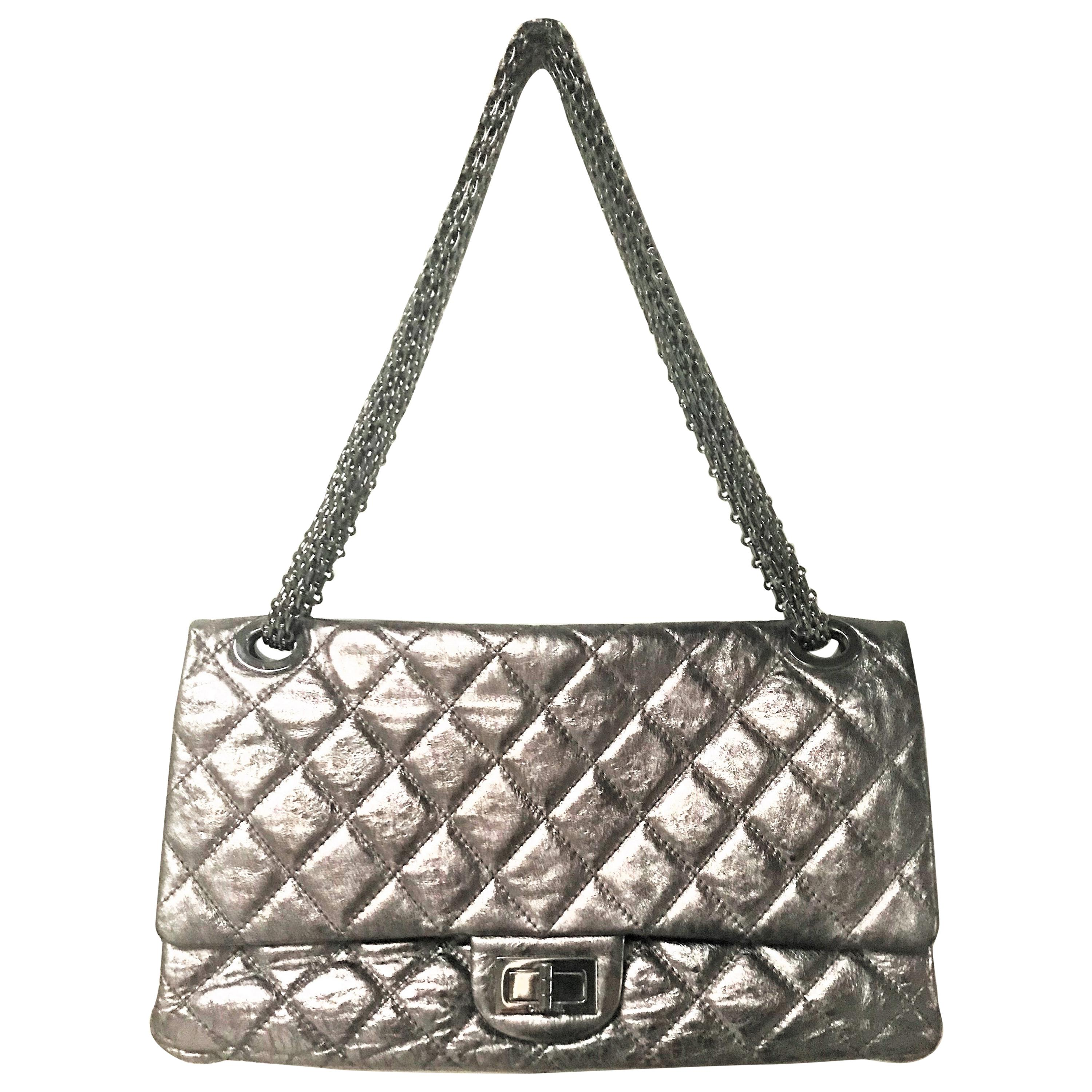 Chanel Cruis Collection maxi double flap bag silver distressed leather