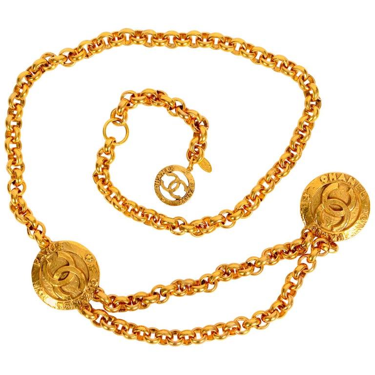 Vintage Chanel medallion gold chain belt 28/6120  For Sale