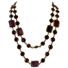 Vintage Chanel Metal Dore and Amethyst Chicklet Necklace