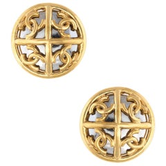 Vintage Chanel Mirror Clip Earrings Large Round Yellow Gold Tone CC Logo