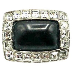 Vintage Chanel Monochrome Crystal Ring Autumn 2000