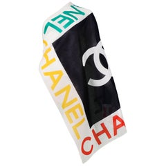 Vintage Chanel Multicolor Chanel Logo Scarf