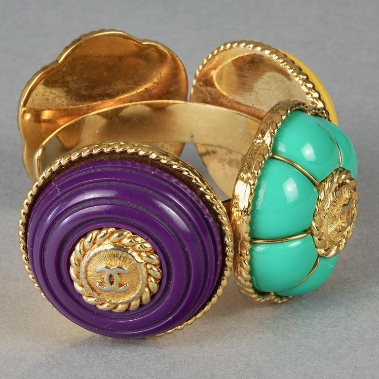 Women's Vintage CHANEL Multicolor Logo Buttons Cuff Bracelet For Sale