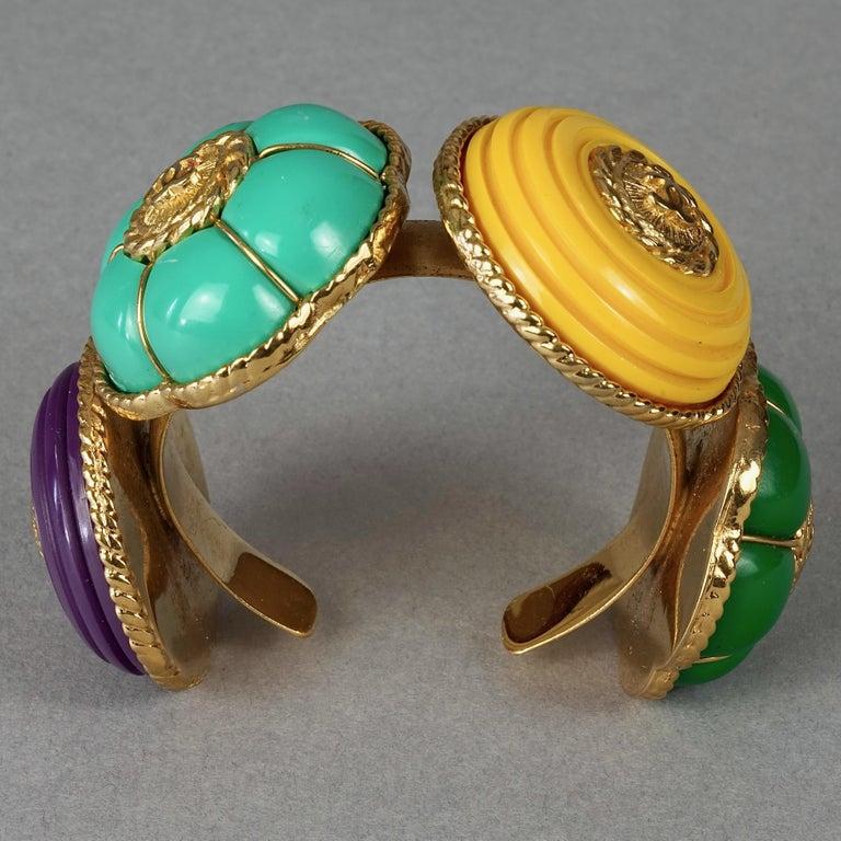 Vintage CHANEL Multicolor Logo Buttons Cuff Bracelet For Sale 1