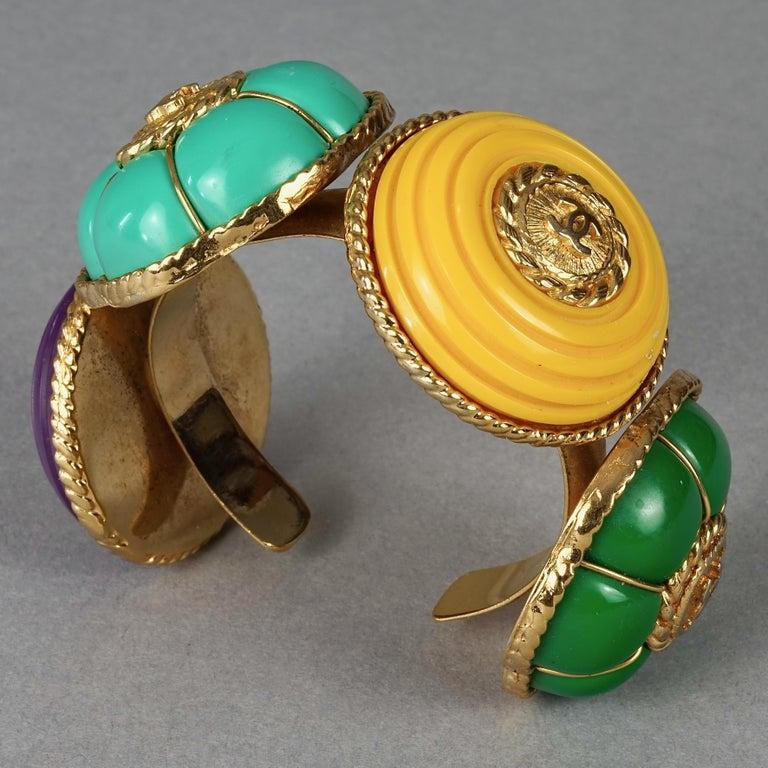 Vintage CHANEL Multicolor Logo Buttons Cuff Bracelet For Sale 3