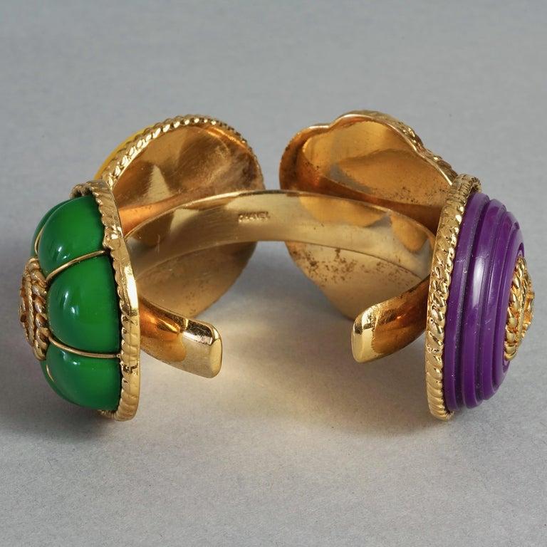Vintage CHANEL Multicolor Logo Buttons Cuff Bracelet For Sale 4