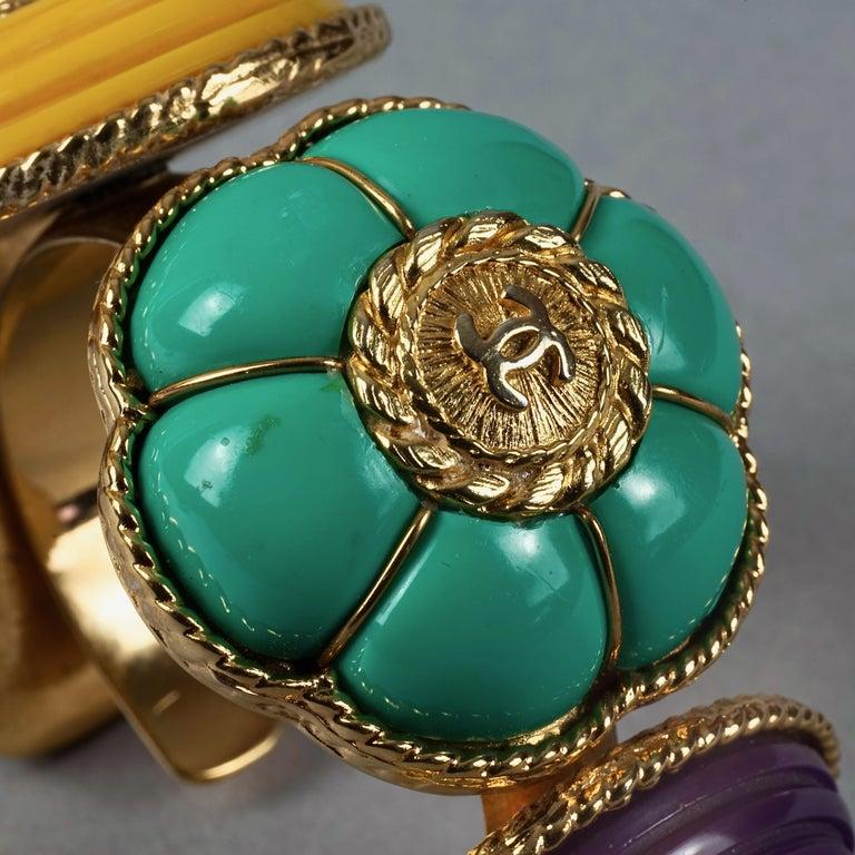 Vintage CHANEL Multicolor Logo Buttons Cuff Bracelet For Sale 5