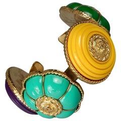Vintage CHANEL Multicolor Logo Buttons Cuff Bracelet