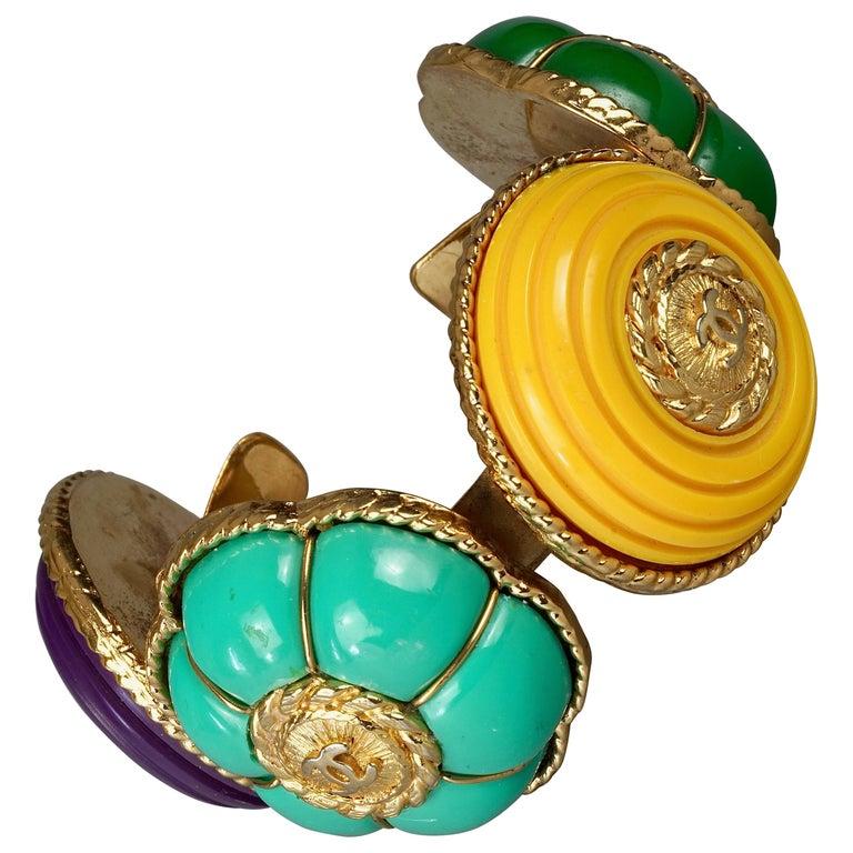 Vintage CHANEL Multicolor Logo Buttons Cuff Bracelet For Sale