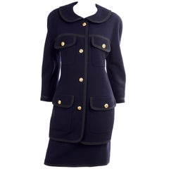 Vintage Chanel Navy Blue Skirt & Jacket Suit With Black Trim and Gold CC Buttons