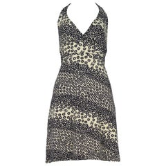 Vintage Chanel Navy Off White Print Halter Dress 1990's