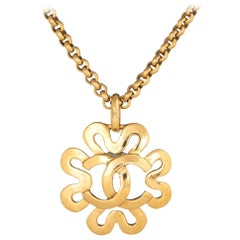 Vintage Chanel Necklace Circa 1995 Spring Flower Long CC Logo Yellow Gold Tone