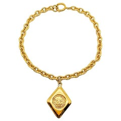 Vintage Chanel Necklace Gold Chain & Lozenge Pendant 1980S