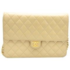 Vintage Chanel Nude Checkered Leather Shoulder Bag