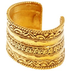 Vintage Chanel Ornate Etruscan Gilded Cuff Bracelet, Signed