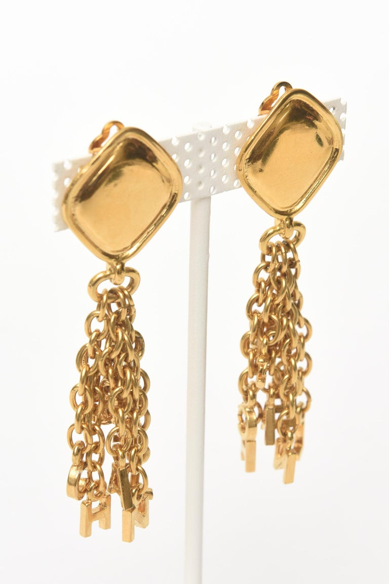 Modern Chanel Gold Plated Charm Dangle Clip On Earrings Vintage For Sale