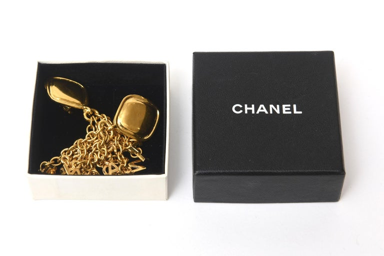 Chanel Gold Plated Charm Dangle Clip On Earrings Vintage For Sale 3