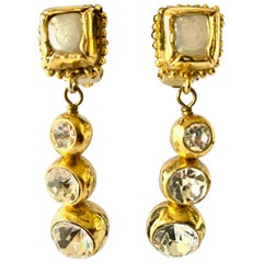 "Vintage Chanel Pearl and ""Strass"" Drop Earrings"
