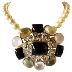 Vintage Chanel Pearl, Black and Clear Glass Pendant Statement Necklace/Brooch