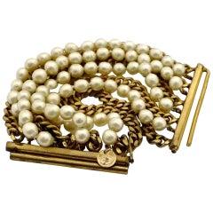 Vintage CHANEL Pearl Chain 9 Multistrand Wide Bracelet