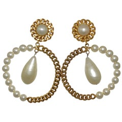 Vintage Chanel Pearl & Chain Hoop Earrings with Large Pearl Drop