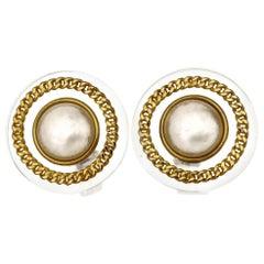 Vintage CHANEL Pearl Chain Plexiglas Earrings