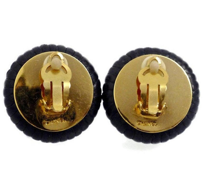 Vintage Chanel Pearl Leather Tyre Rim Earrings For Sale 1