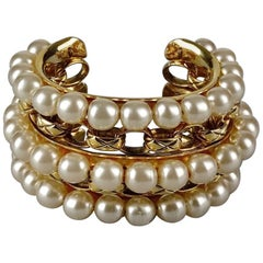 Vintage CHANEL Pearl Quilted Wide Cuff Bracelet