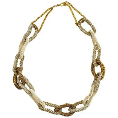 Vintage Chanel Pearls Rhinestone Gold Tone Necklace