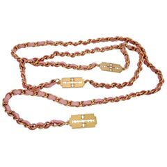 Vintage Chanel Pink Gold Razor Blade Belt Necklace