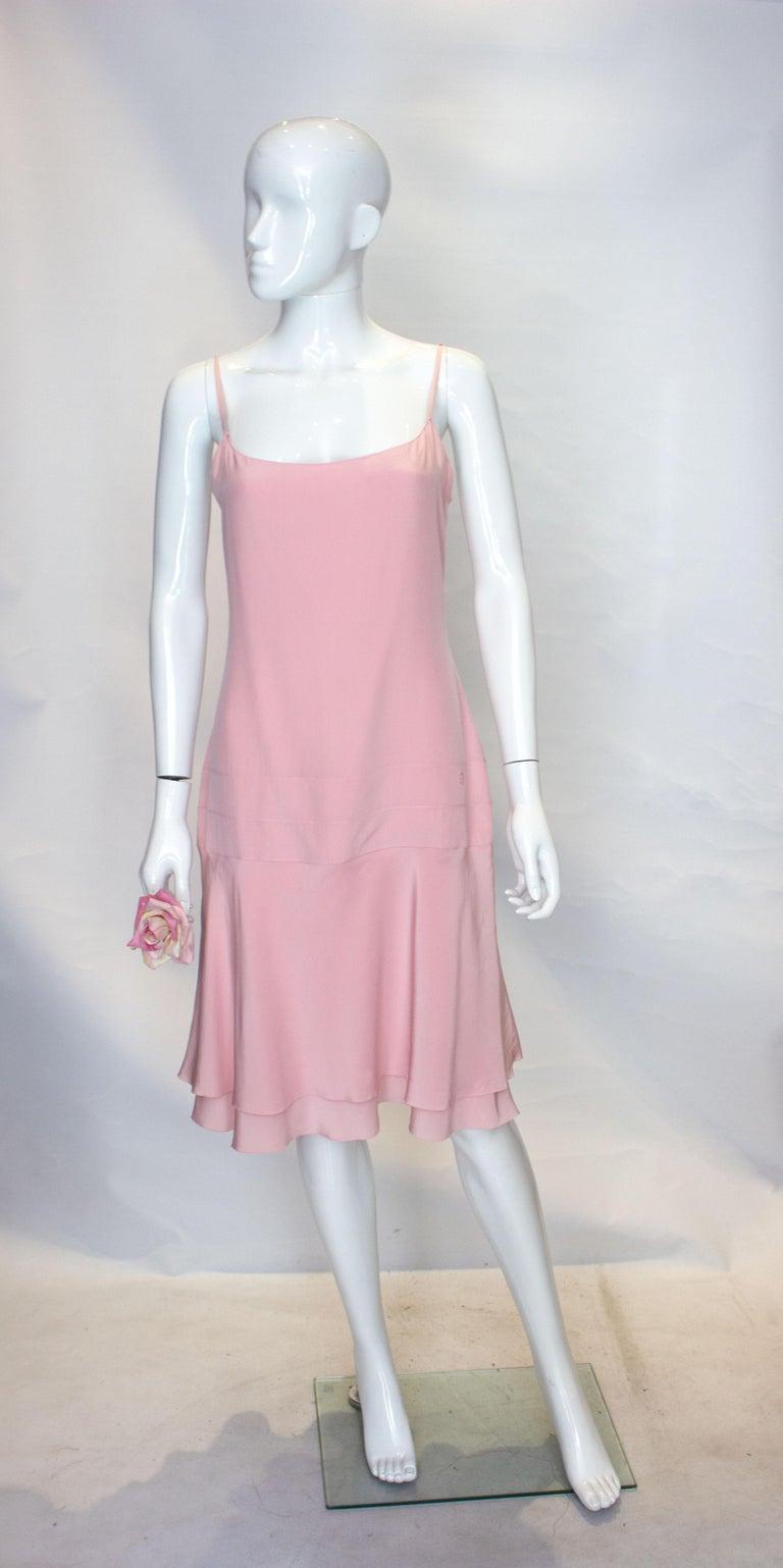 Beige Vintage Chanel Pink Silk Slip Dress For Sale