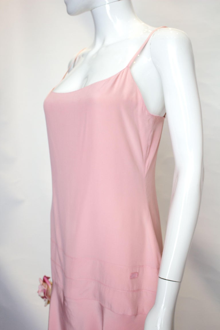 Vintage Chanel Pink Silk Slip Dress In Good Condition For Sale In London, GB