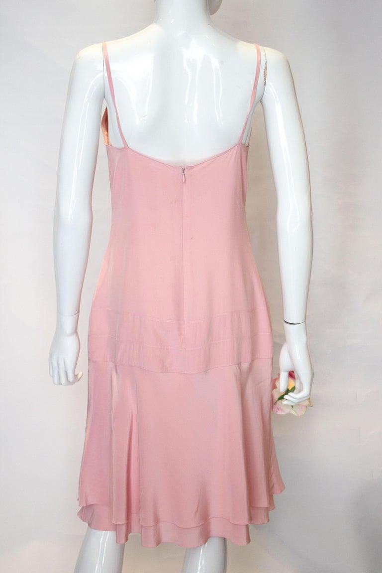 Vintage Chanel Pink Silk Slip Dress For Sale 1
