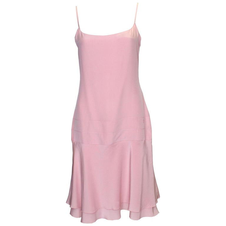Vintage Chanel Pink Silk Slip Dress For Sale