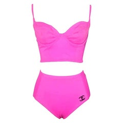Vintage Chanel pink swimsuit size 40