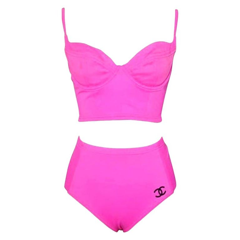 Vintage Chanel pink swimsuit size 40 For Sale