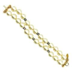 Vintage Chanel Poured Glass Double Strand Pearl & Paste Bracelet 1970s