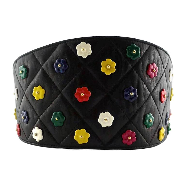 Vintage CHANEL Quilted Colourful Camellia Leather Corset Belt