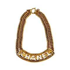 Vintage CHANEL Quilted Cut Out Plate Double Chain Necklace