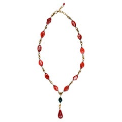Vintage Chanel Red & Green Gripoix Drop Necklace
