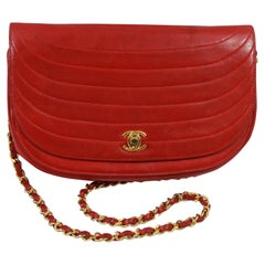 Vintage Chanel Red Lambskin Round Leather Bag