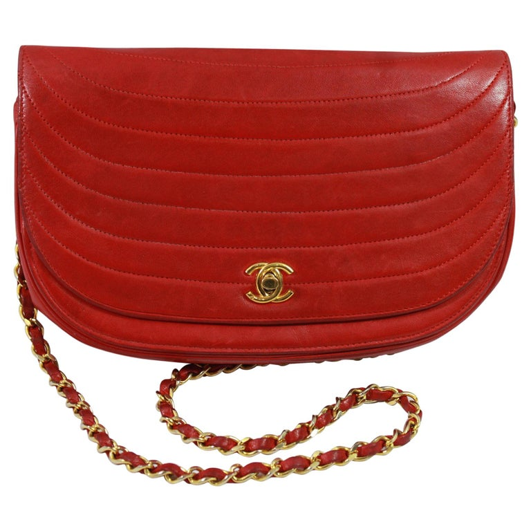 3a98dd040a9d Vintage Chanel Red Lambskin Round Leather Bag at 1stdibs