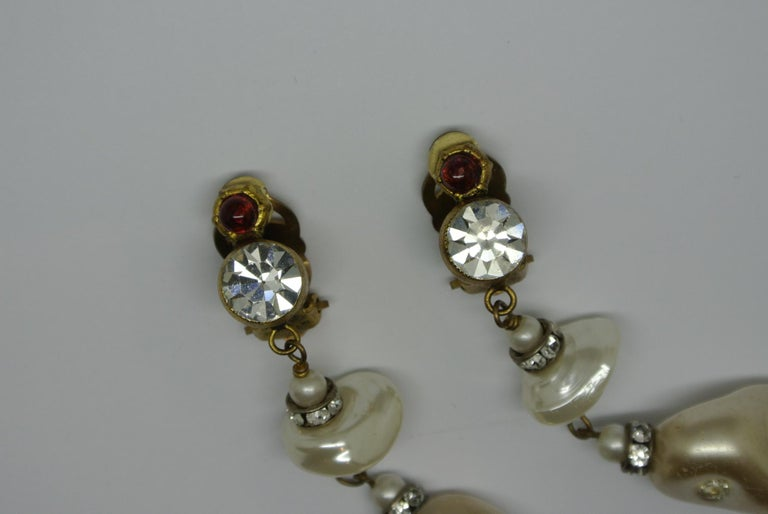 6560accf1 Artist Vintage Chanel red poured Glass irregular faux pearl drop Earrings  For Sale