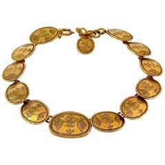 Vintage CHANEL Regal Crown Logo Coin Medallion Choker Necklace