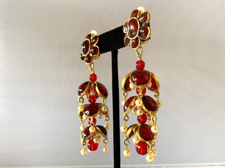 Vintage Chanel Ruby and Pearl Mughal Statement Earrings For Sale 4