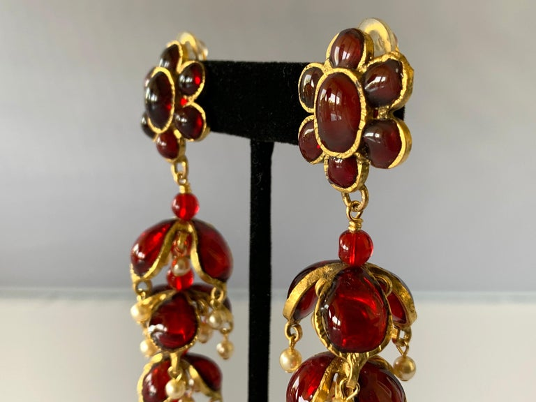 Vintage Chanel Ruby and Pearl Mughal Statement Earrings For Sale 5