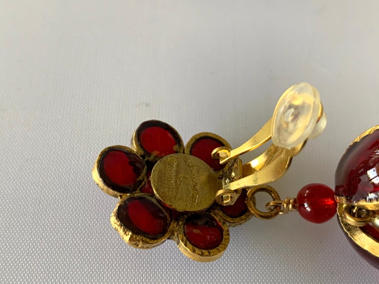 Vintage Chanel Ruby and Pearl Mughal Statement Earrings For Sale 6
