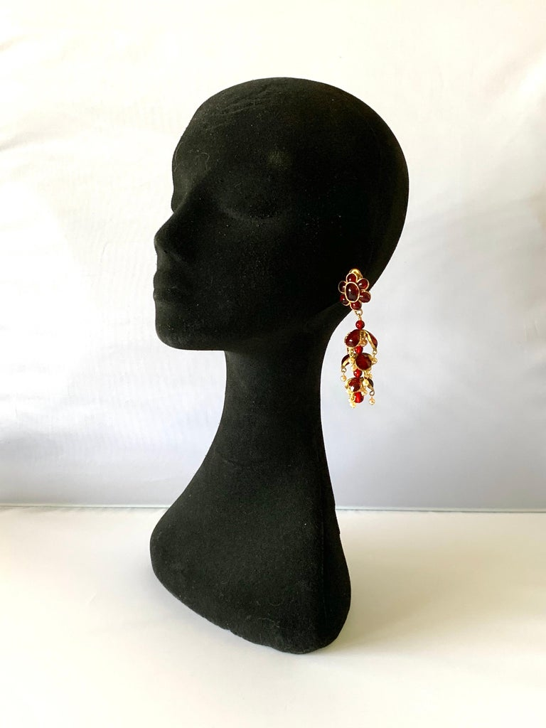 Artisan Vintage Chanel Ruby and Pearl Mughal Statement Earrings For Sale