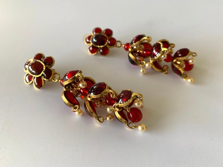 Women's Vintage Chanel Ruby and Pearl Mughal Statement Earrings For Sale